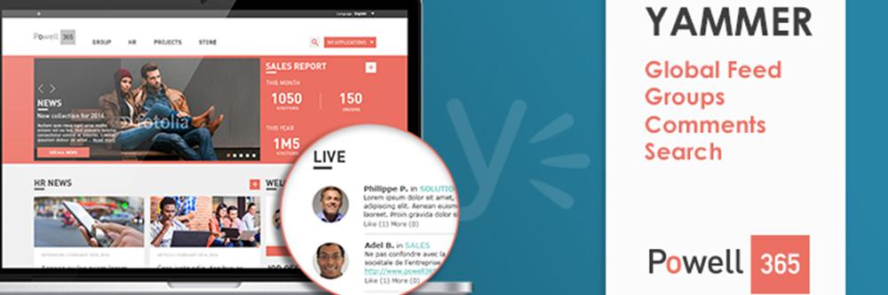 Yammer et SharePoint Online dans Powell 365