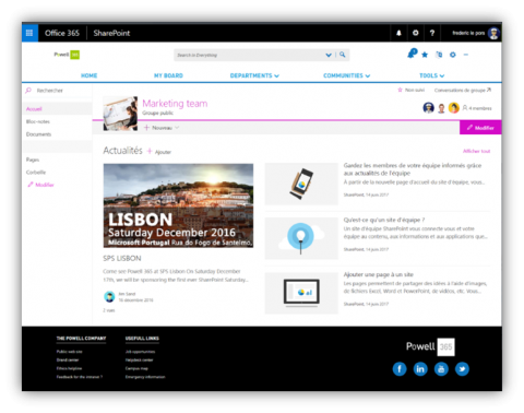 ModernTeamSite with Powell 365 header & footer