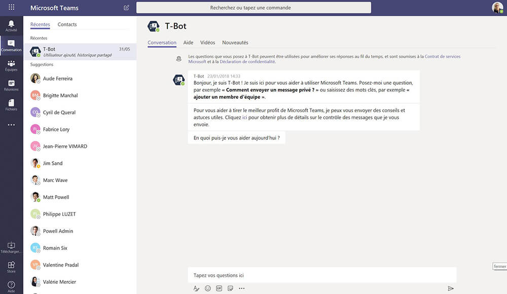 Microsoft Teams chat feature