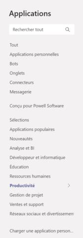 Store Microsoft Teams - Catégorie pour application Powell Teams