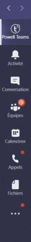 barre navigation microsoft Teams - téléchargez powell Teams depuis le store