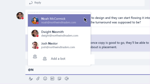 using teams @mention